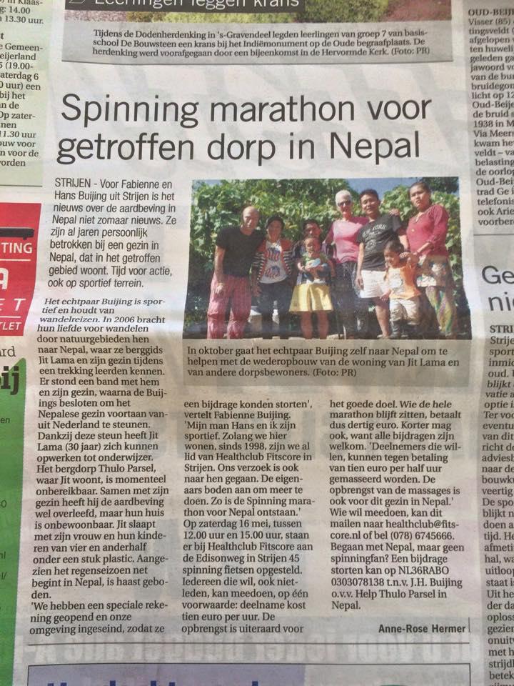 Artikel Spinning in de krant
