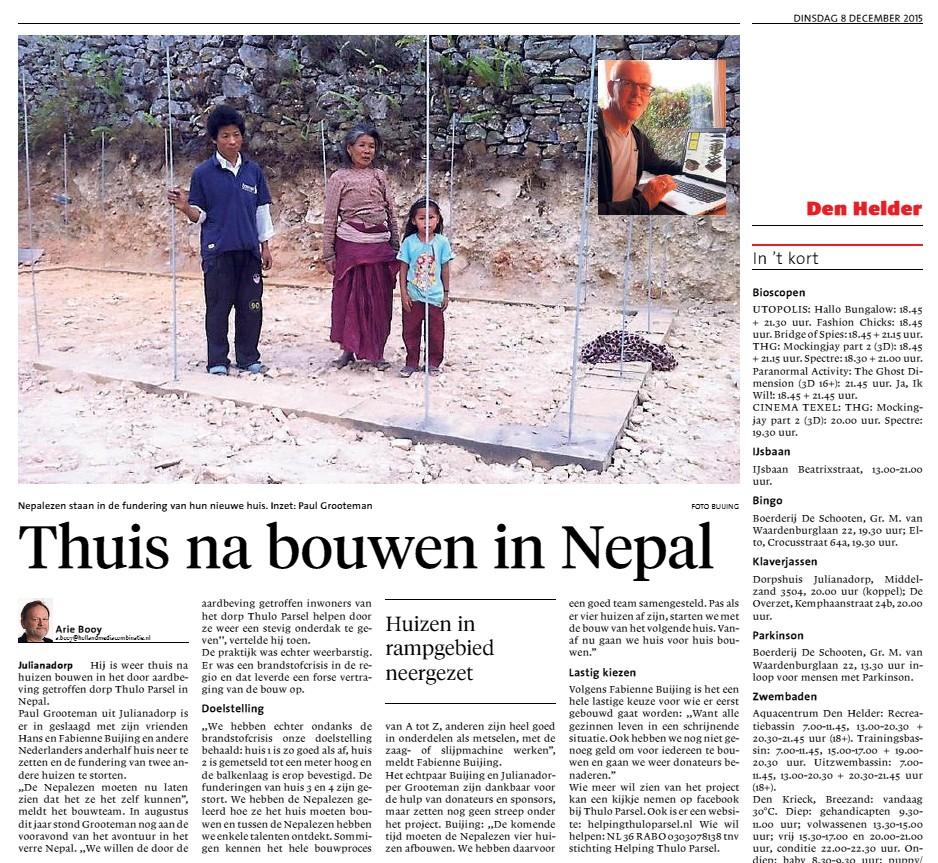 Thuis na bouwen in Nepal
